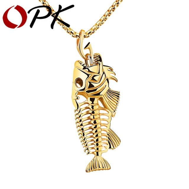 OPK Fish Bone Fishing Hook Pendant Necklaces Punk Style Men 316L