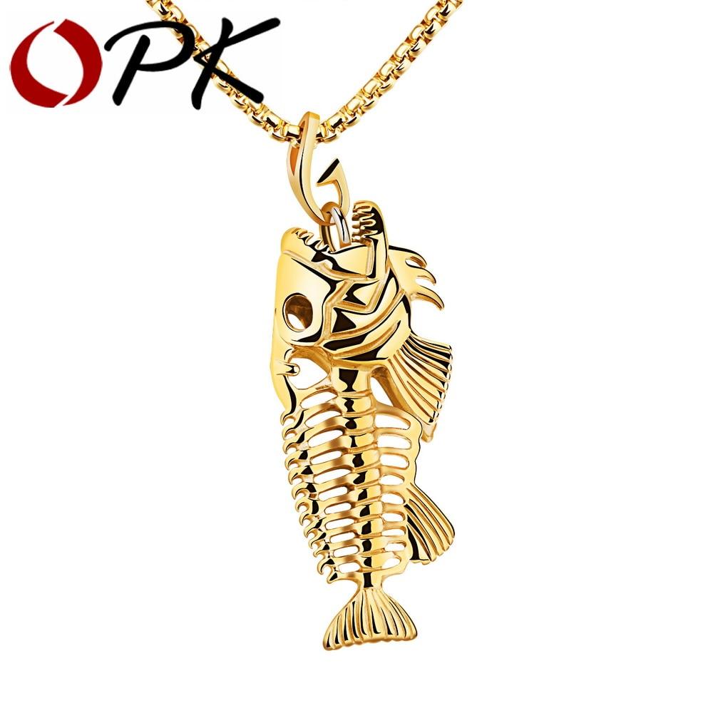 OPK Fish Bone & Fishing Hook Pendant Necklaces Punk Style Men 316L Steel Link Chain 3 <font><b>Colors</b></font> Personality Jewelry GX1073