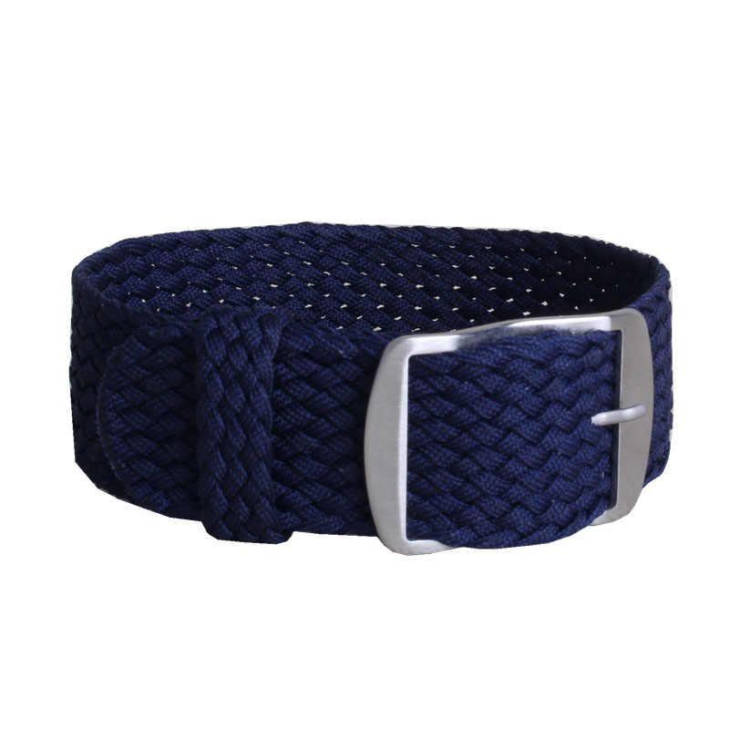 16mm 18mm 20mm 22mm מוצק צבע Perlon ארוג ניילון watchbands צמיד בד ארוג רצועת שעון בנד אבזם חגורה שחור כחול