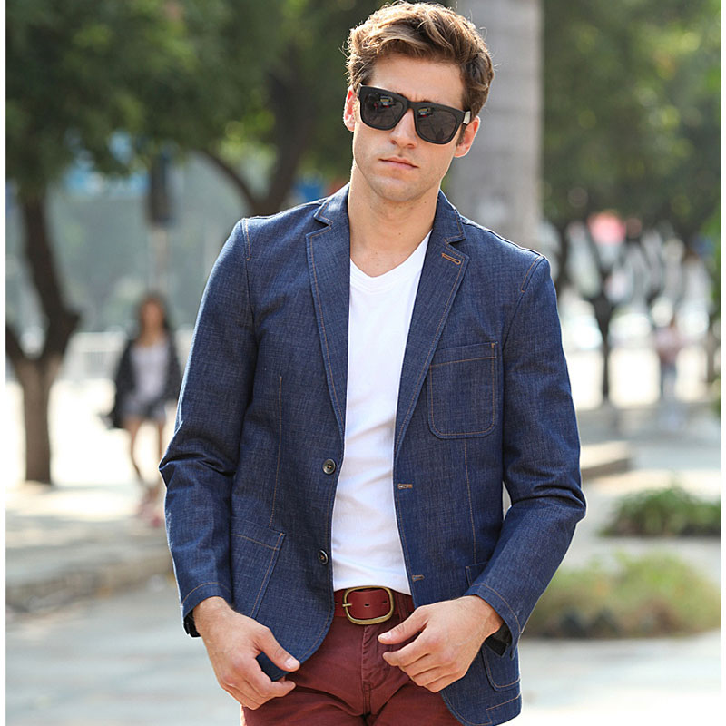 Unique Mens Blazers Chaquetas 2017 Fashion Slim Fit Ocio