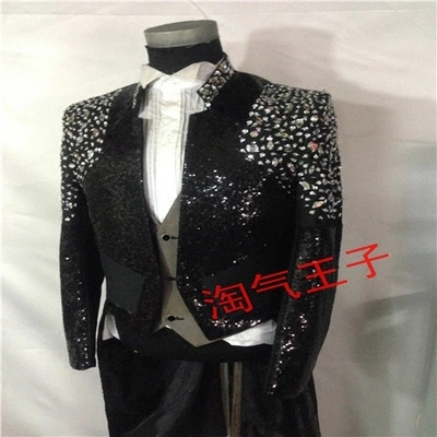 real customs making black rehinestone sequined tuxedo swallowtail magician jacket/party/stage performance/this is only jacket