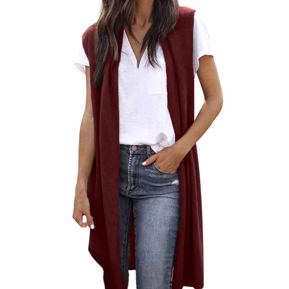 Women s Sleeveless Open Front Pocket Vests Causal Lightweight Kimono Cardigan  Coats Fashion womens Vest chamarras de 0a87faaea
