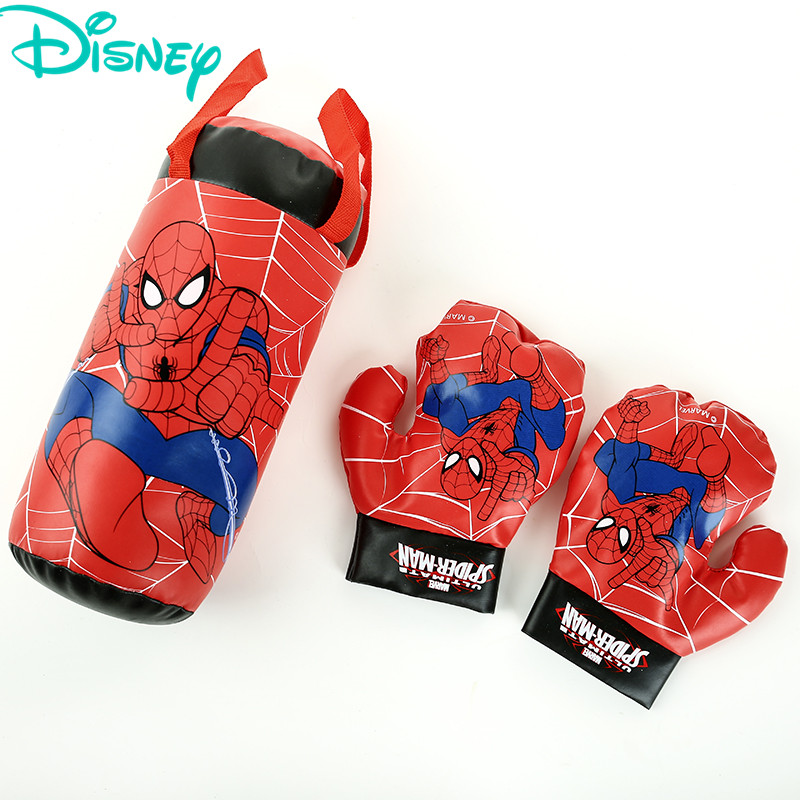 Disney Marvel Spiderman Cotton Gloves Sandbag Set Outdoor Fun Sports Kids Boxing Boys Toys For Chidren Beginner Birthday Gift