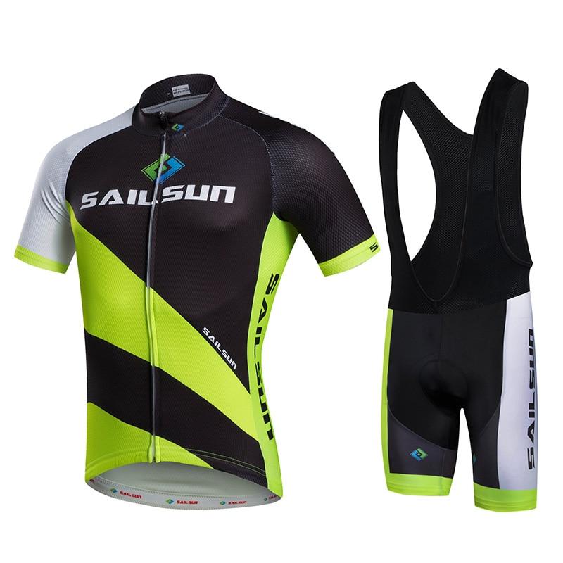 Prix pour Chaude Hommes Vélo Jersey ou Vélo Cuissard Noir Vert VTT Cycling Team Top Pro Vélo À Manches Courtes Vêtements Respirant
