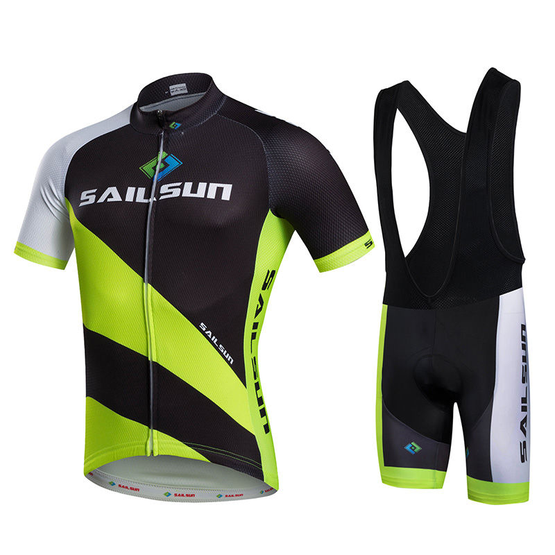 Hot Men Bike Jersey or Cycling Bib Shorts Black Green MTB Team Cycling Top Pro Bicycle Short Sleeve Clothing Breathable