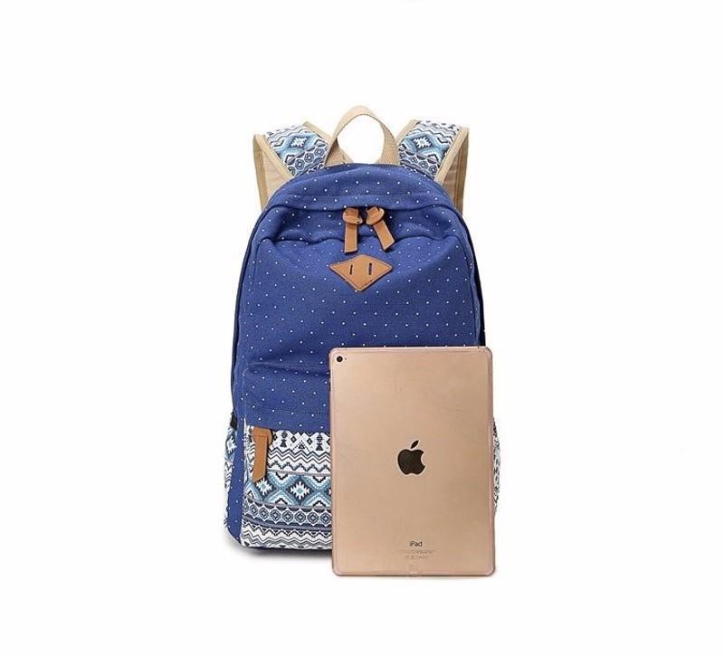 Canvas Printing Backpack Women School Bags for Teenage Girls Cute Bookbags Laptop Backpacks Female Bagpack 3 Piece one Set 2