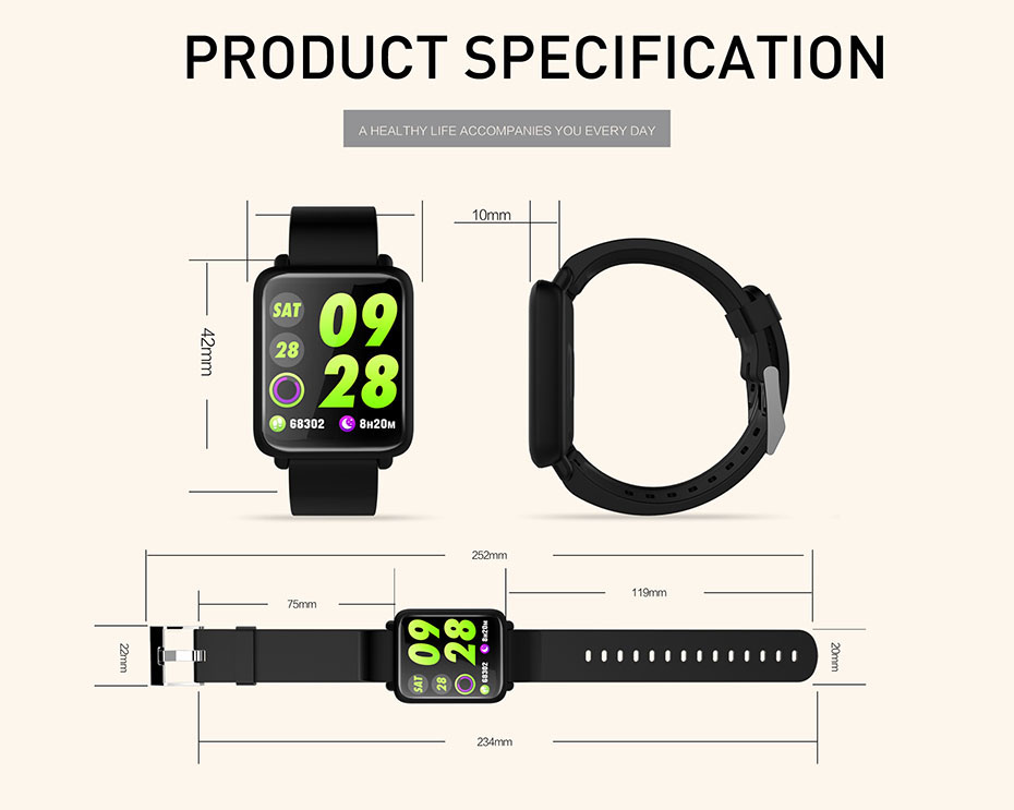 COLMI Smart Watch M28 IP68 Waterproof Bluetooth Heart Rate Blood Pressure Smartwatch for Xiao mi Android IOS Phone 14