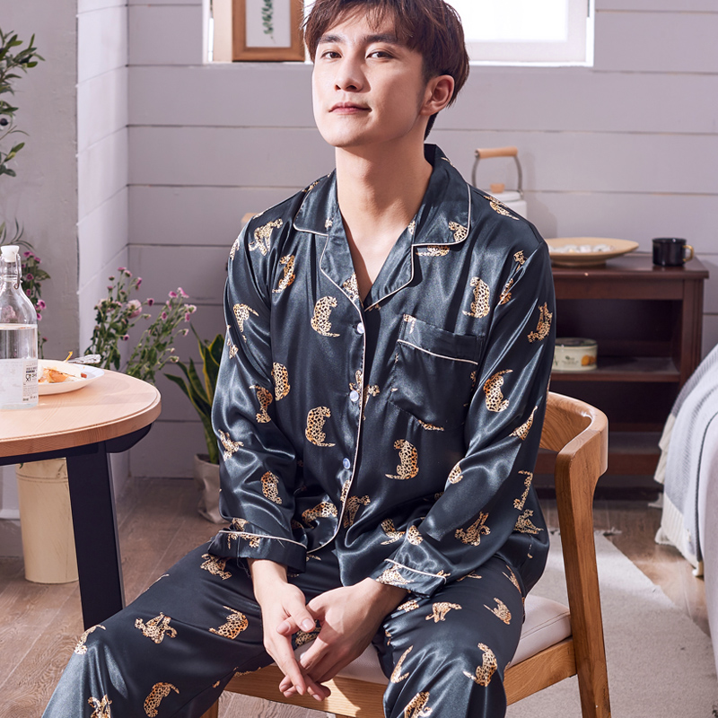 Pajamas Men Summer Ice Silk Long Sleeves Leisure Thin Style Sleepwear Teenagers Spring Autumn Home Clothing Nightgown Suit H5600