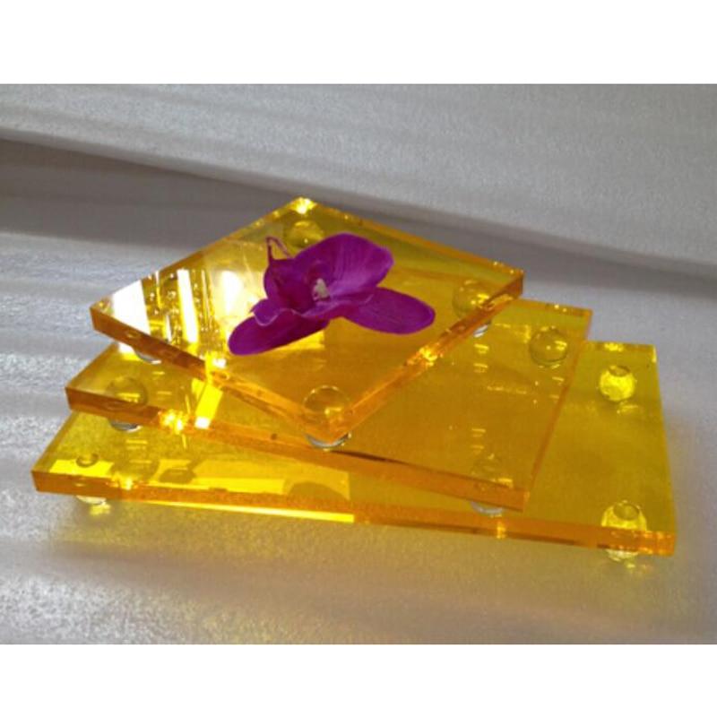 3 pieces lot Clear Orange Acrylic Dessert Serving Tray Sets of 3 Plexiglass Lucite Cupcake