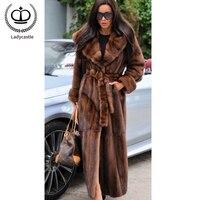 120 см плюс Размеры шубы для Для женщин натуральная норка мех пальто с капюшонами реального норки пальто ограничен зимние топы куртка из нату...