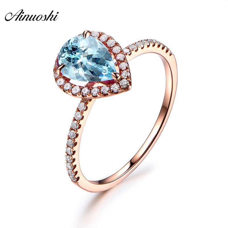 AINUOSHI 1 5 Carat Pear Cut Rose Gold Color Ring Pure 925 Silver Natural Blue Topaz