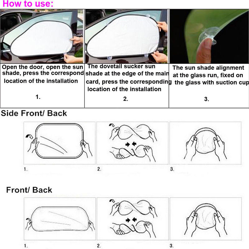 Image 5 - 6 Pcs Sun Visor Car Windshield Shade Silver Reflective Foldable Windshield Full Shield Car Sun Visor Cover UV Protect Reflector-in Windshield Sunshades from Automobiles & Motorcycles