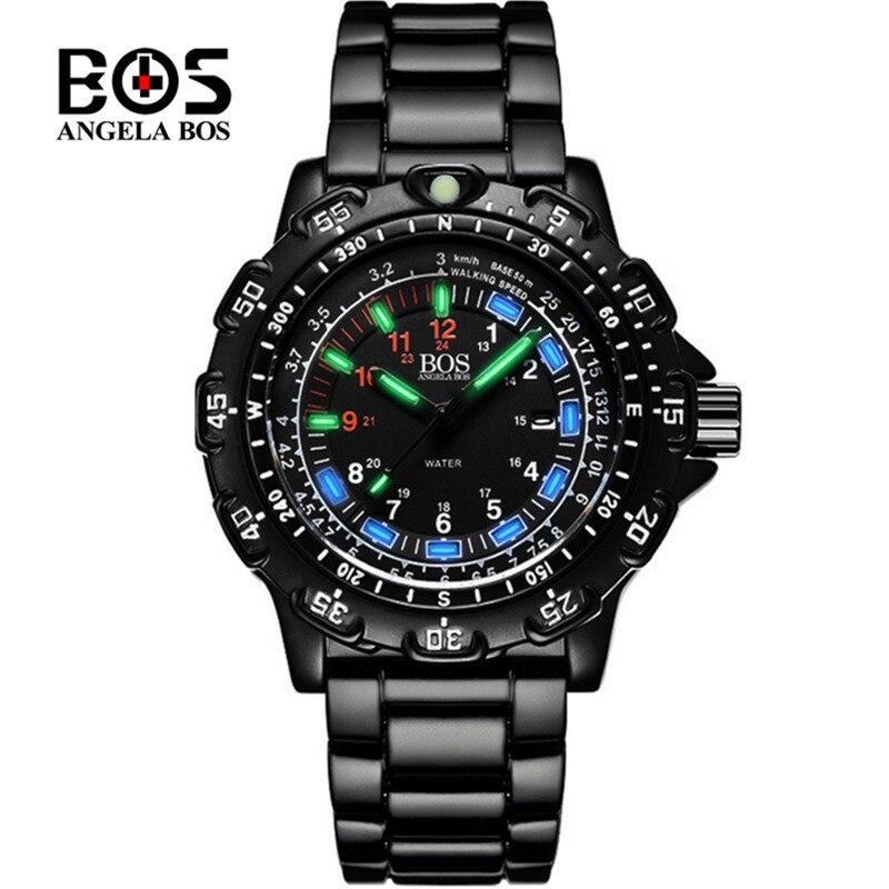 ANGELA BOS Luminous Military Watch Men Luxury Brand Sapphire Quartz Wrist Watch Waterproof Sport Clock Saat Relogio Masculino все цены