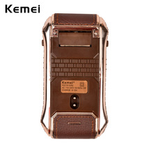 Kemei Portable Electronic Shaver Leather Wrapped Machine for Travel Reciprocating for Men's Facial Shaving Razor Mens New Shave