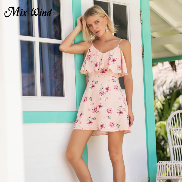 51bebca0ffa22c Mix Wind 2018 Spring Summer Teenage Style Sexy Loose High Waist Sleeveless  V-Neck Sling Printed Fashion Dress