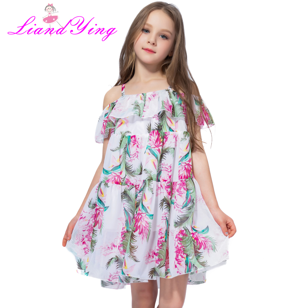 Bohemia Children Dress Girls Summer Floral Party Dresses Toddler Clothing Kids Girls Banana Leaf Dress For Baby сумка coccinelle coccinelle co238bwynt80