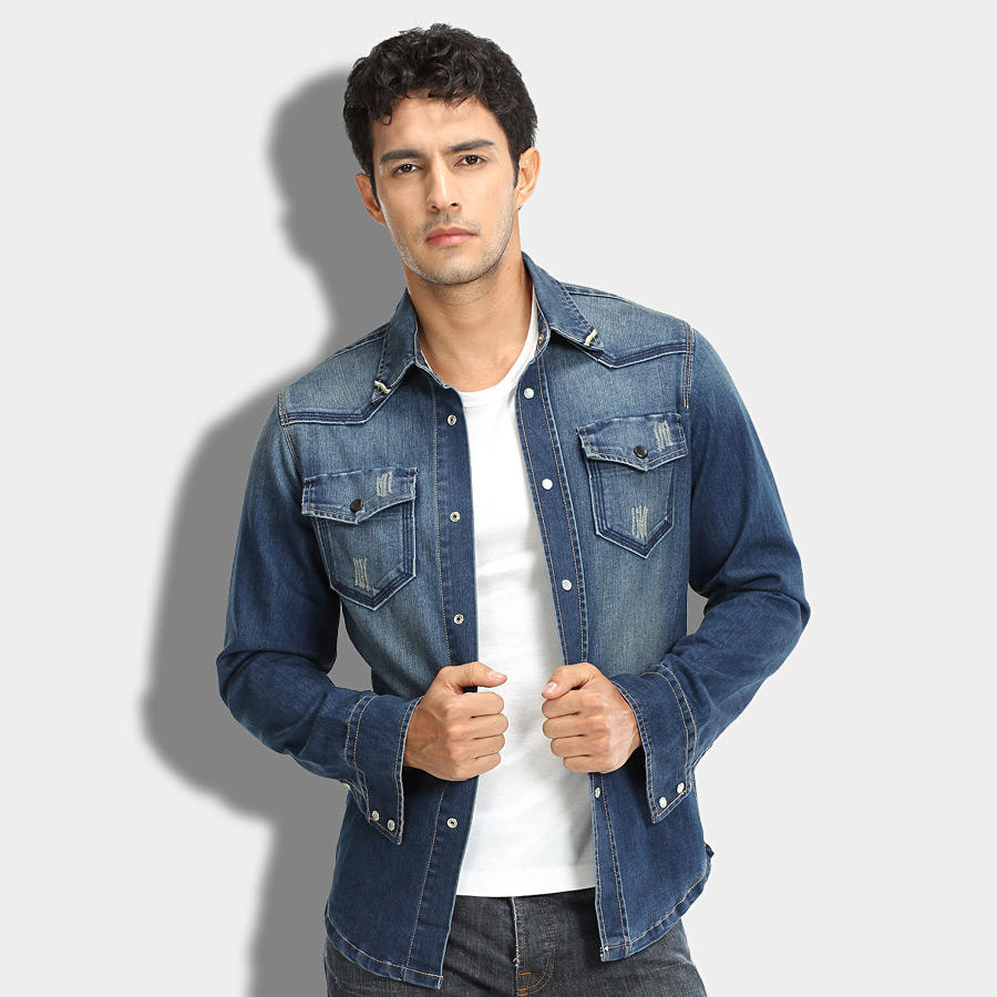 2014 spring autumn denim shirt fashion long sleeve men's clothing ...
