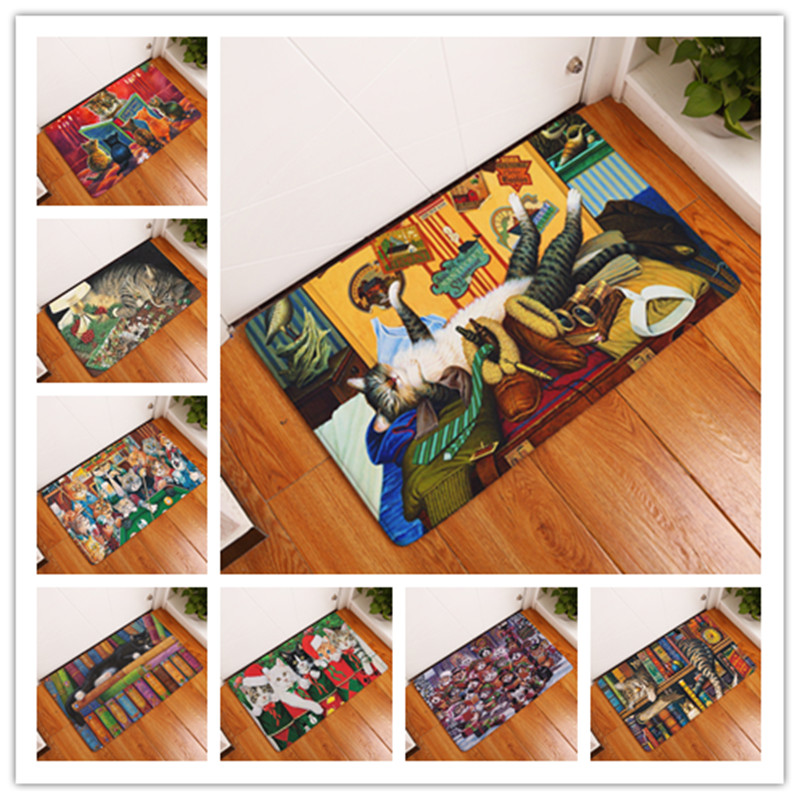 2017 Daily Cat Print Carpets Non Slip Kitchen Rugs For Home Living Room Floor Mats 40x60cm In