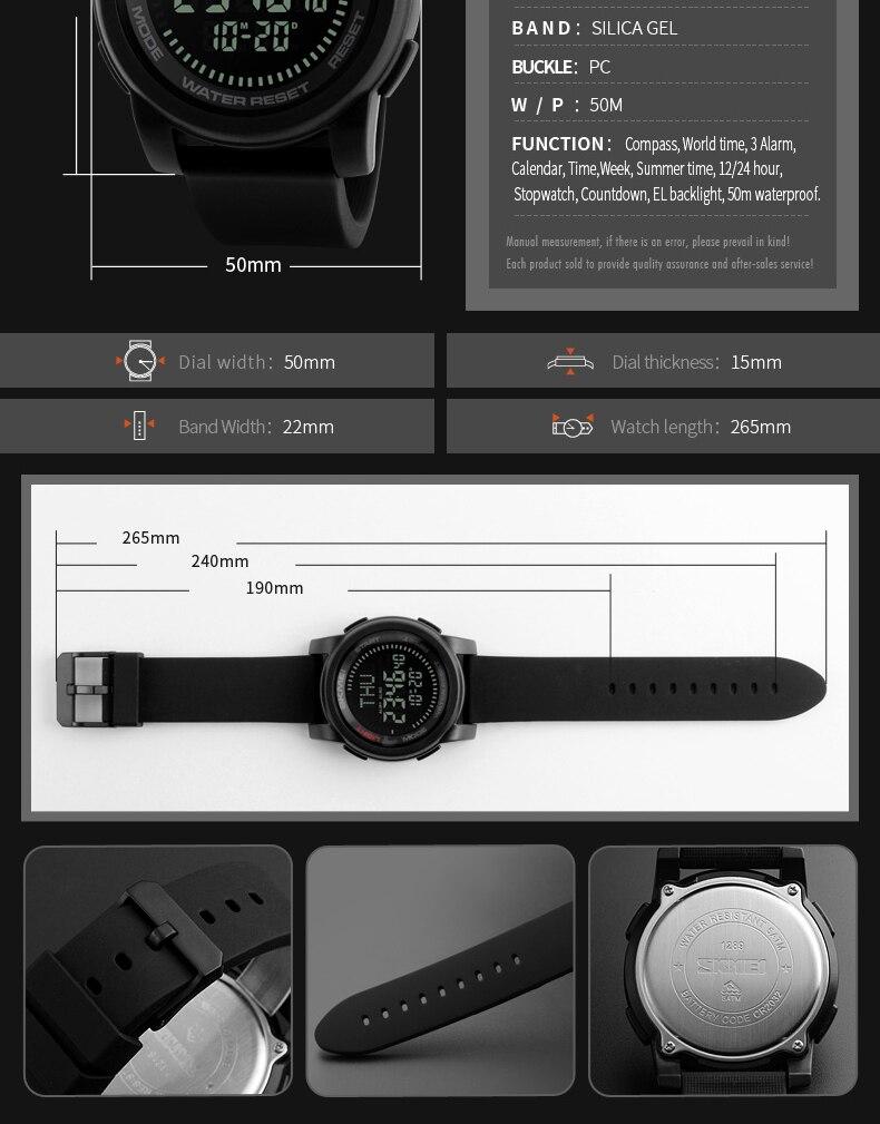SKMEI 2019 Compass Men Sport Watch 50M Waterproof Man Outdoor Countdown Digital Watch electronic Watch For Men reloj hombre (9)