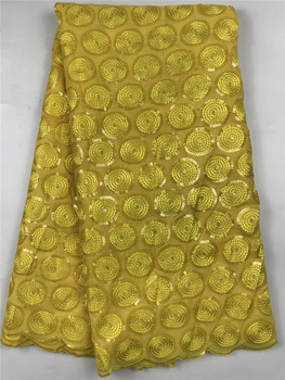 high fashion yellow turkish sequins embroidery design african organza lace fabric wholesale swiss organza lace fabric