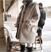 2016 Winter New women Woolen Coat Korea College Wind Long Section wool coat Loose Solid Color Hooded Horn Button Woolen coat