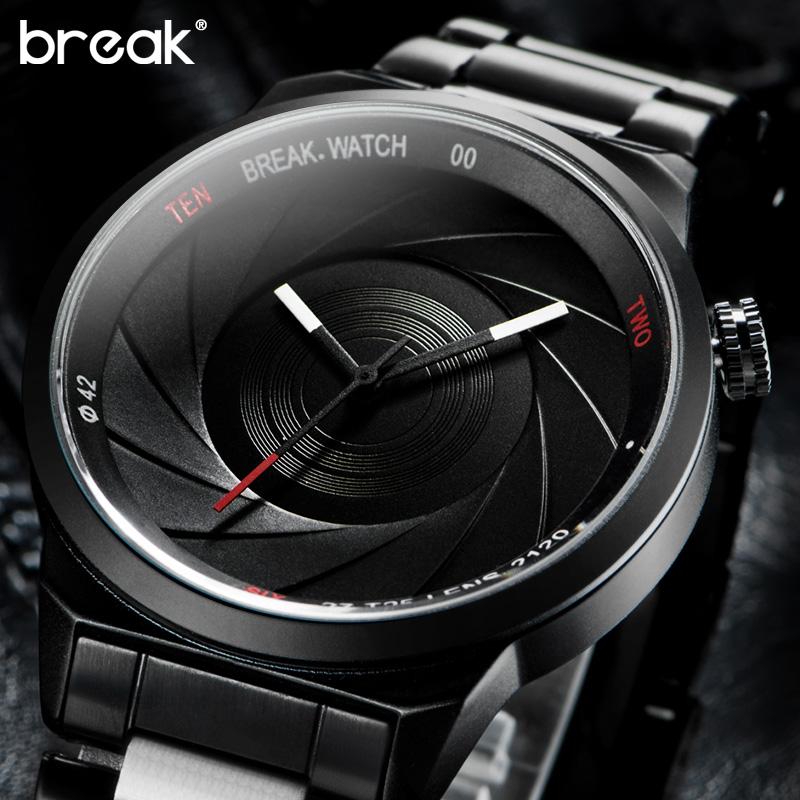 Prix pour Break hommes unisexe unique caméra style inoxydable en caoutchouc bande de mode casual sport quartz montre-bracelet moderne cadeau montre pour femmes