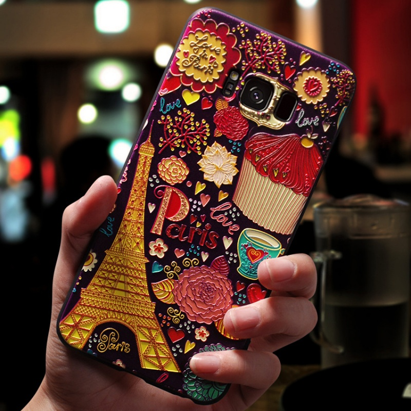 3D Flower Emboss Case For Samsung Galaxy S10 Lite S6 S7 Edge S8 S9 Plus A8 A6 A9 Plus A7 2018 Star A3 A5 2017 2016 Case Soft TPU