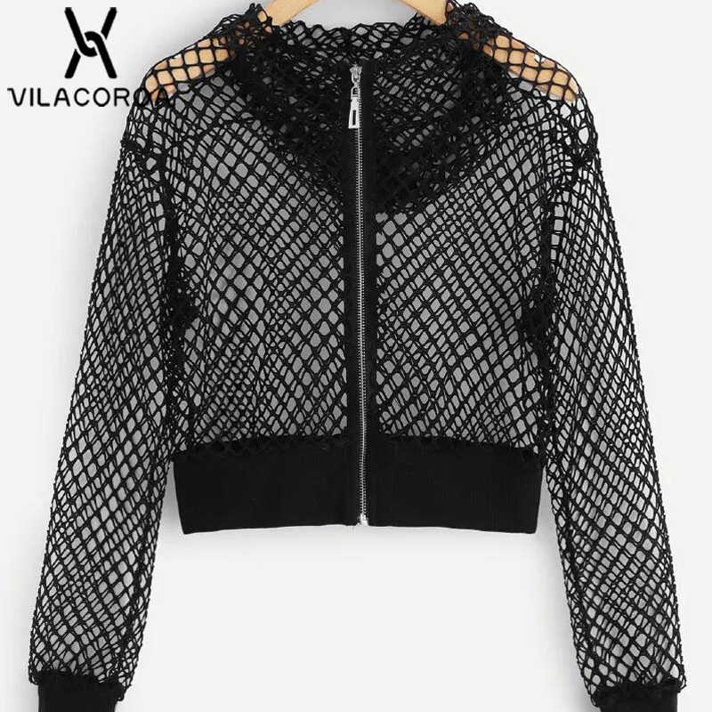 Autumn Black Fishing Net Zipper Hooded Female Jacket Long Sleeve  Perspective Short Coat Female Jackets For 06516e582e8f