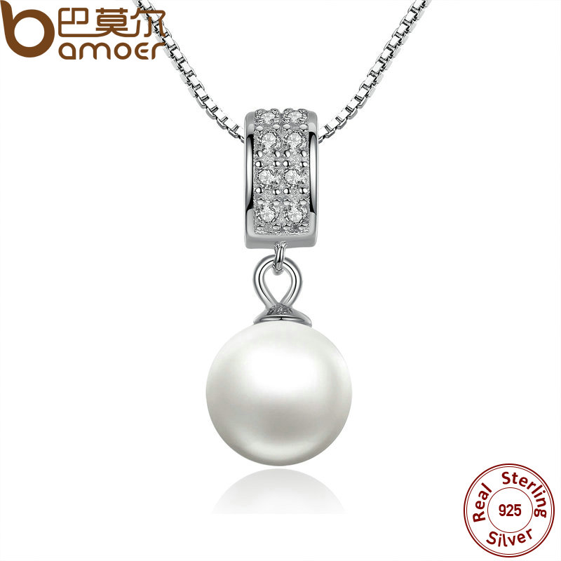 BAMOER 925 Sterling Silver Simulated Pearl Pendant Necklace Long Chain Necklace Jewelry Wedding Necklace Accessories SCN030 2 3mm red natural agate necklace multi layers 925 sterling silver with real pearl fine womne jewelry wedding party necklace