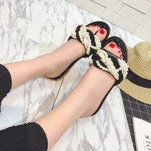 2017 Verano Zapatillas de Tela Escocesa de la Perla de Las Mujeres Sandalias Planas Femenina Flip Flop Zapatillas Planas Casuales Zapatos de Las Mujeres de Playa de Diapositivas zapatos