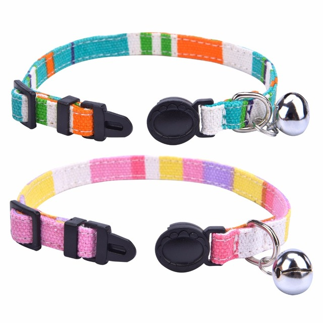 2 pcs/set Breakaway Cat Collar Rainbow Canvas Personalized Safe Kitten Puppy Collars with Bell Adjustable Neck Lead