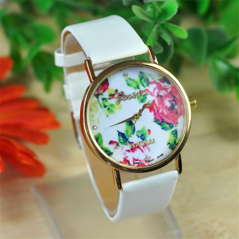 Relogio Feminino Dropshipping Watches Gift 1PC Fashion Women Leather Rose Flower Watch Quartz July26 relogio feminino women watches watch dropshipping gift fashion rhinestone leather band quartz wrist august1