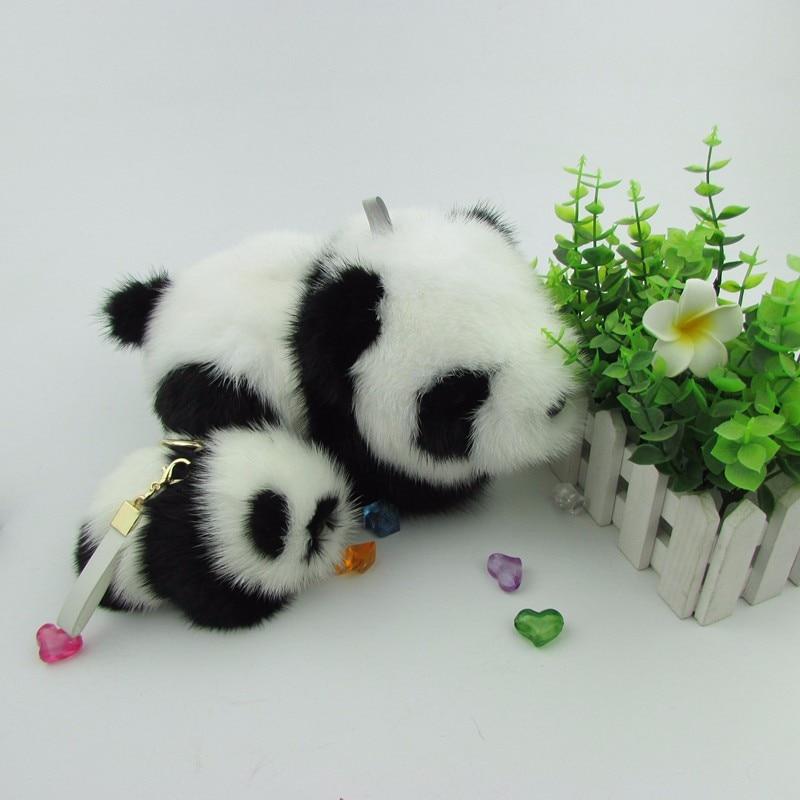 Pendentif fait main en fourrure de vison véritable avec sac panda rouge jouet voitures porte-clés en peluche adorable