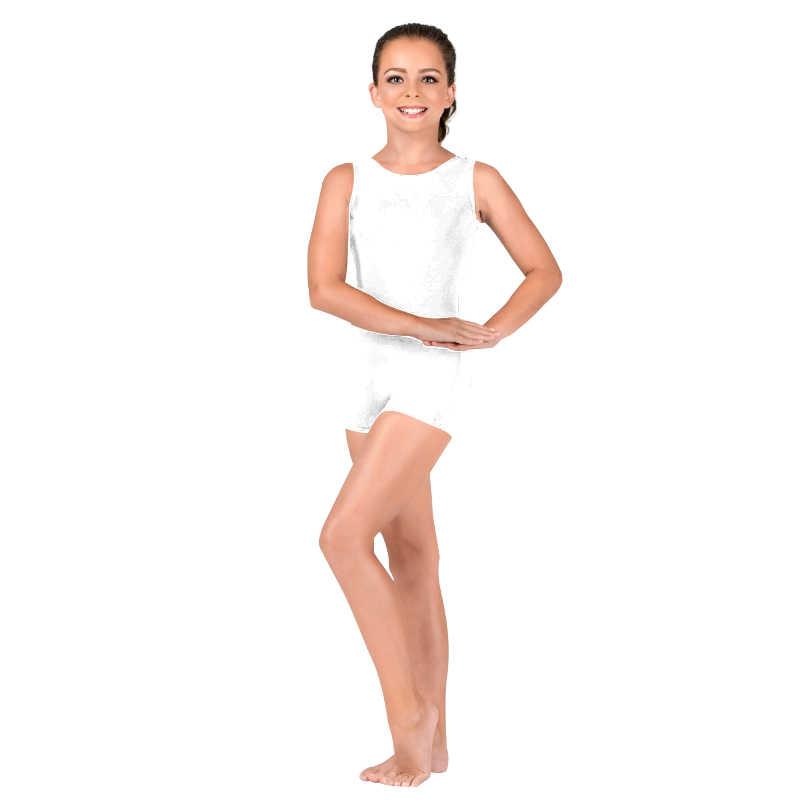 Ensnovo dziewczyny dzieci bez rękawów Tank Top Biketard z elastanu z lycry elastycznej balet Dancewear trykot Shorty chłopcy maluch trykot Unitard