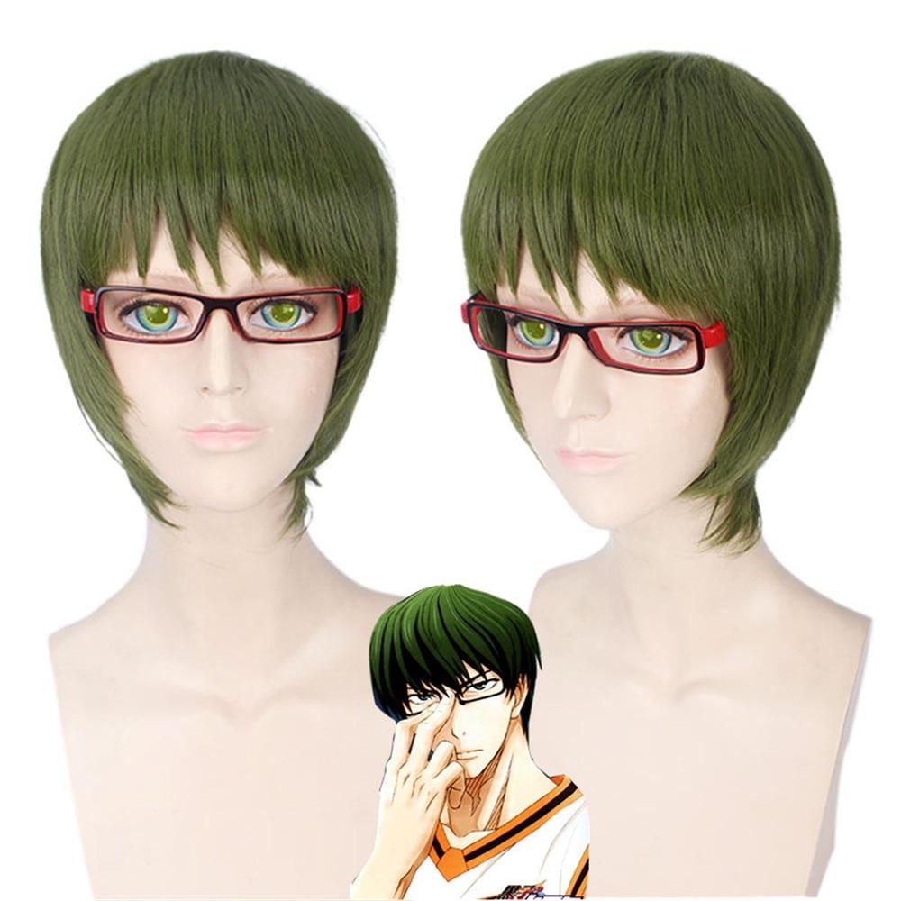 Kuroko no Basuke Midorima Shintaro Green Short Straight High Temperature Fiber Cosplay Synthetic Hair Party Wigs men