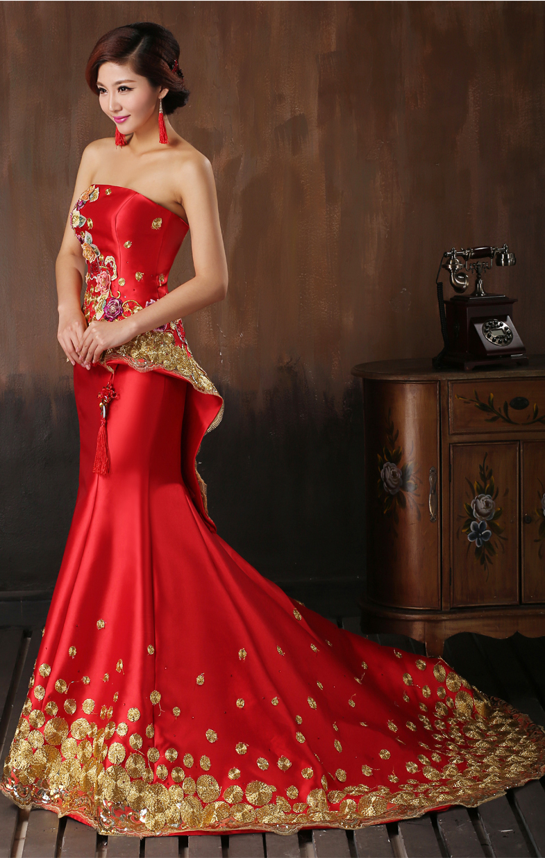 Chinese style Red Wedding Dresses Long Design Married Chinese ...