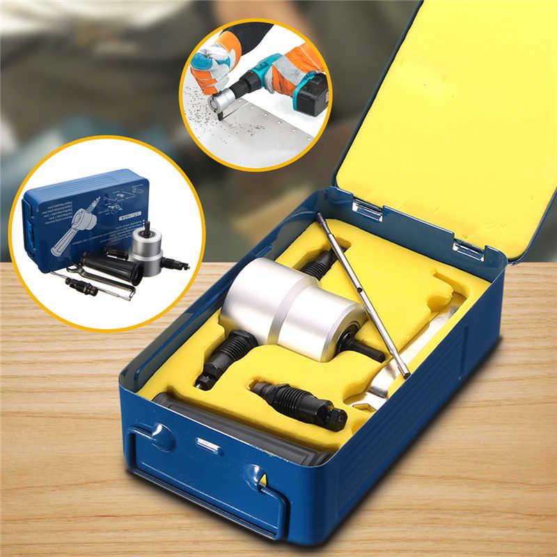 Double Head Sheet Metal Nibbler Cutter Holder Tool Power Drill Attachment Kit gd 10 sunx metal sheet double feed sensor head gd10 nob