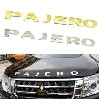 For Mitsubishi Pajero Sport V97 V93 Hood Emblem Logo Stickers Car Styling Gold Silver 3D Metal