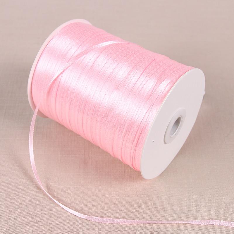 22 м/лот 3 мм атласные ленты для свадьбы День рождения коробка шоколадных конфет подарочная упаковка ленты Рождество Хэллоуин Декор - Цвет: Светло-розовый