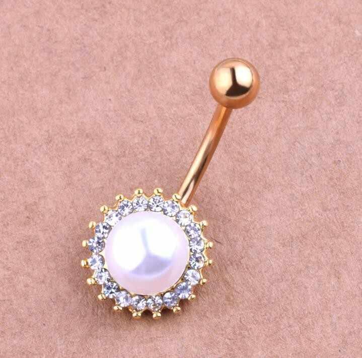 חדש חם מכירות אופנה כירורגי נירוסטה כדור ברבל טבור טבעת כפתור גוף פירסינג תכשיטים
