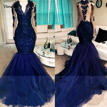 Navy Blue Elegant Long Sleeve Prom Dresses 2018 Lace Beads Mermaid Formal Evening Gowns Vestido de Renda Festa Galajurken
