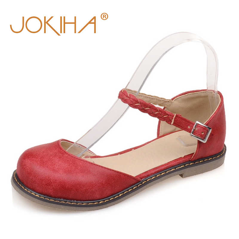7d5cd26d645b 2018 Mori Girls Women Buckle Strap Mary Jane Flat Shoes Casual Round Toe  Sweet Slingback Ballet