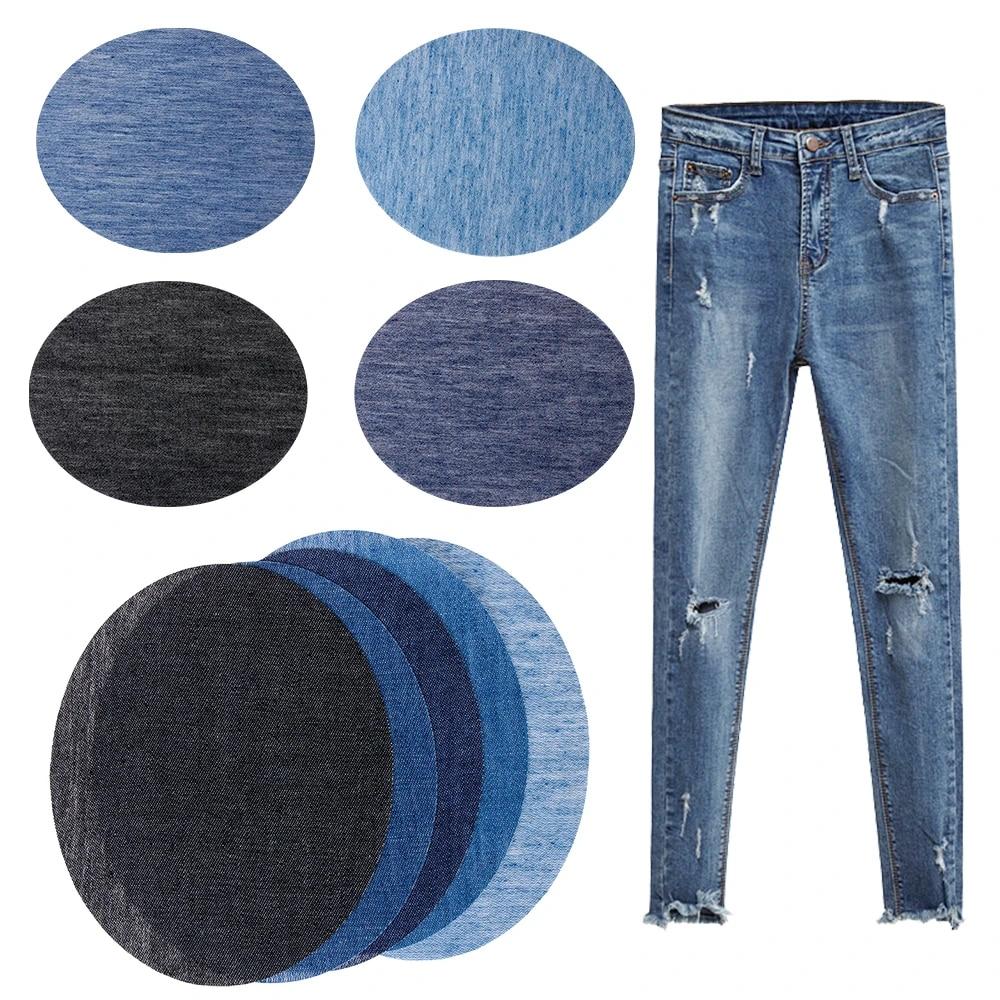Azul Marino Denim de hierro//coser parche de Apliques de Rodilla//codo//artesanía//Jeans Oval X 2