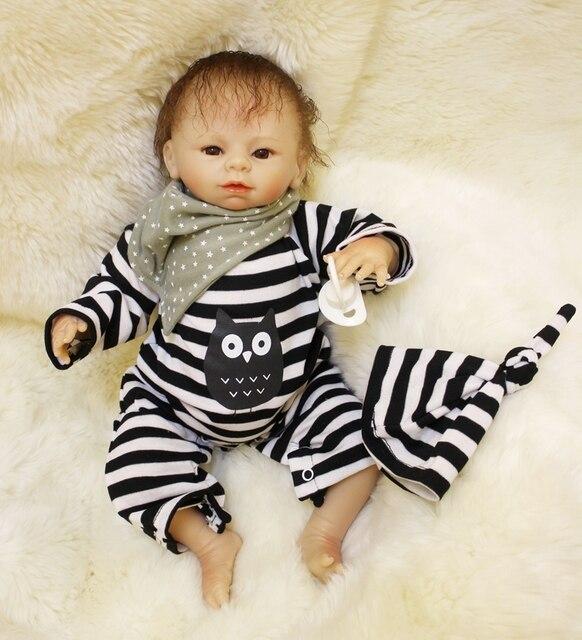 Soft Body Silicone Reborn Boy Baby Doll Toy 45cm Cute Vinyl Newborn Babies Dolls Kids Birthday