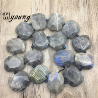 Genuine Labradorite Slab Space Beads,Faceted Gems Stone Spectrolite Drusy Slice Drilled Pendant beads Jewelry MY1940