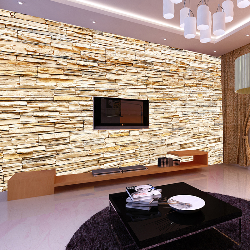 Non Woven Fashion 3d Stone Bricks Wallpaper Mural For ...