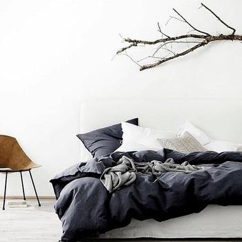 Linen Duvet Cover Set Bed 4Pcs Bedding Sets 100% Linen Bed Set Twin Full Queen Super King Size Available Flat Sheet Pillow Case