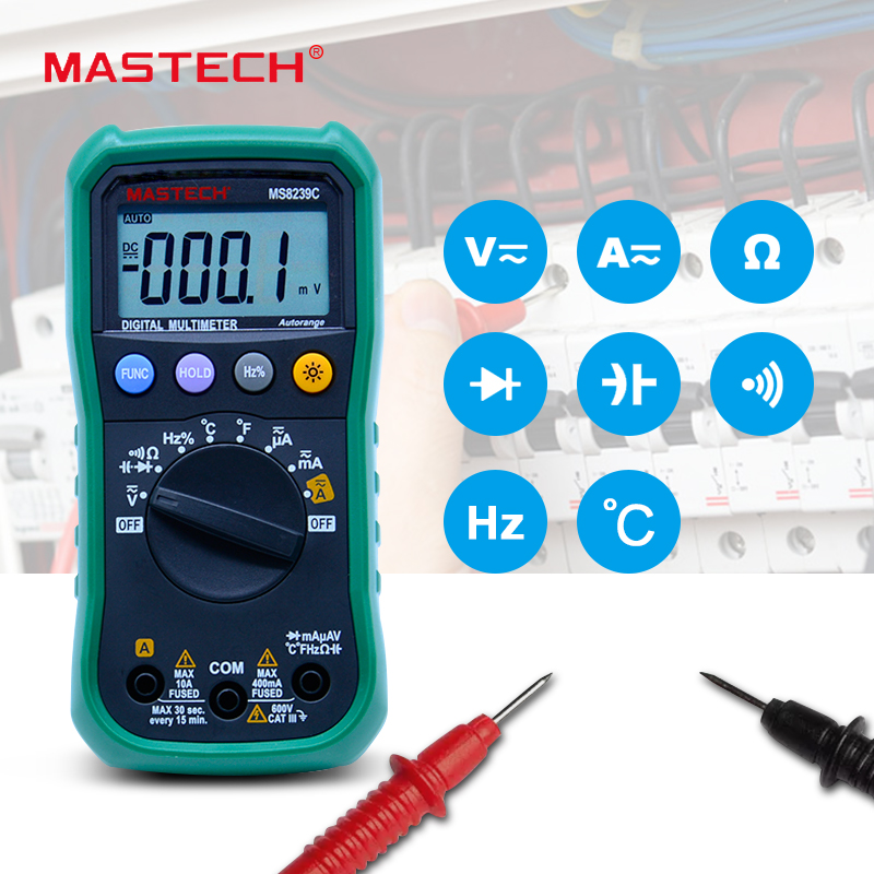 Digital Multimeter MASTECH MS8239C  AC DC Voltage Current Capacitance Frequency Temperature Tester Auto range multimetro 3 3/4 auto range handheld 3 3 4 digital multimeter mastech ms8239c ac dc voltage current capacitance frequency temperature tester