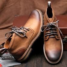 Hight Qualität Mens Echtes Leder Lace Up Lässige Cowboy Martin Stiefel Winter Super Warm Oxford Formale Kleid Schuhe