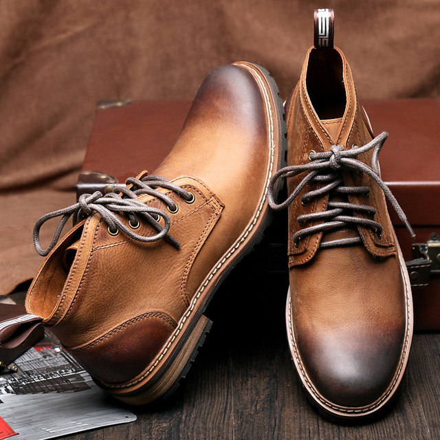 Hight Quality Mens Genuine Leather Lace Up Casual Cowboy Martin Boots Winter Super Warm Oxford Formal Dress Shoes